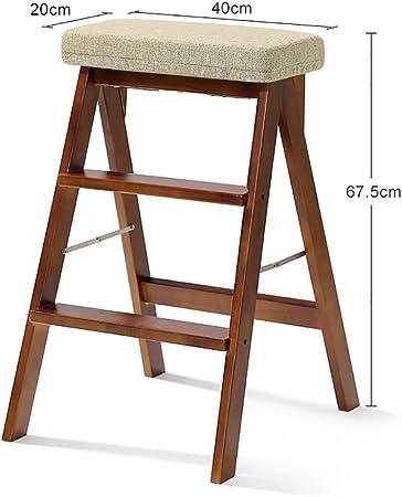 YIN YIN Taburete Escalera Plegable del Taburete del Paso de Madera sólida para la Cocina de los Adultos Escalera Plegable portátil del Alto Taburete de Madera de la Cocina Multifuncional Duradero: Amazon.es: