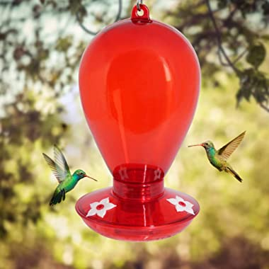 Twinkle Star Red Hummingbird Feeder with 3 Feeding Ports, 35 Ounce