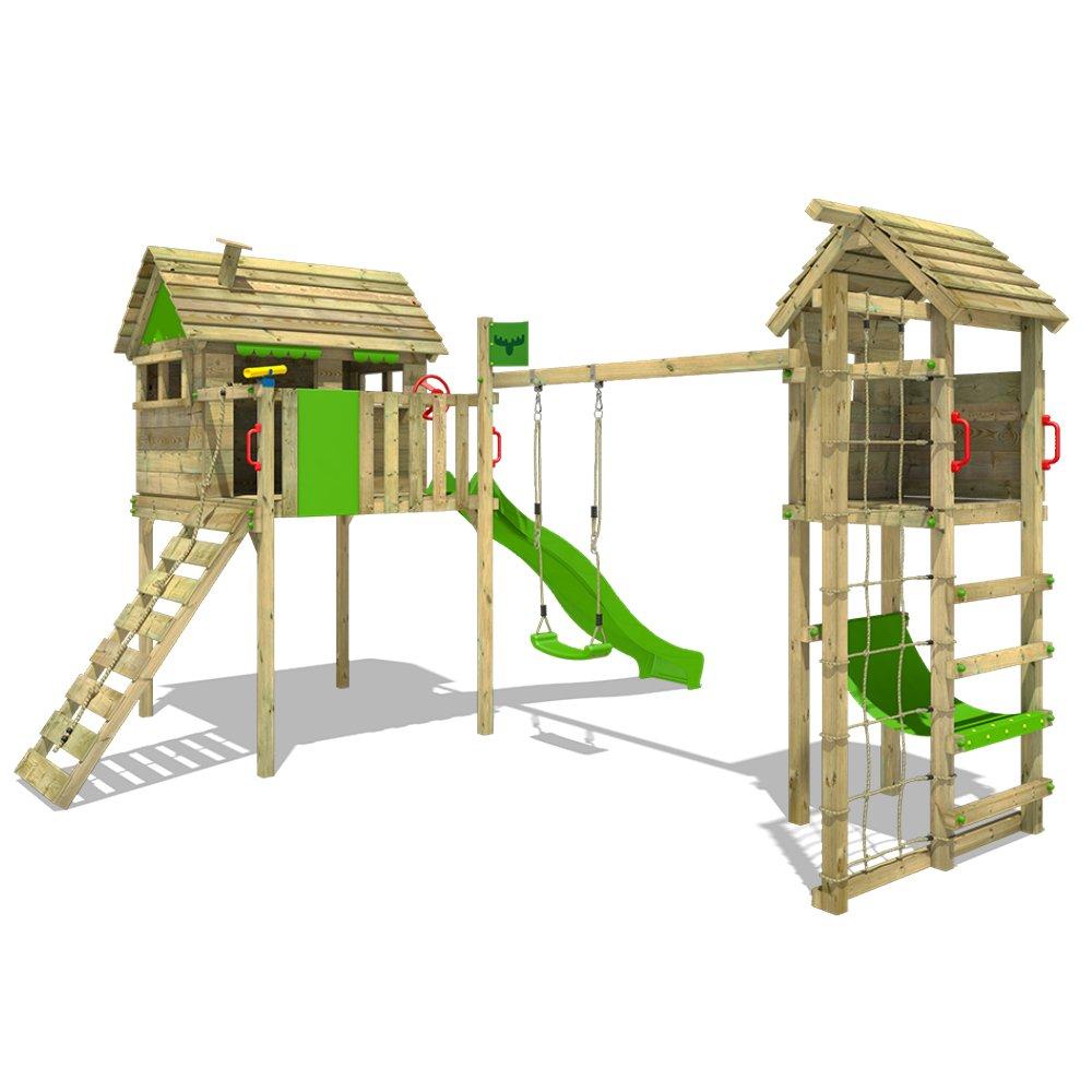 altalena e scivolo rete darrampicata FATMOOSE Palafitta FunFactory Fit XXL con TowerSwing Parco giochi con estension torretta incl scaletta di risalita tetto in legno una grande casetta