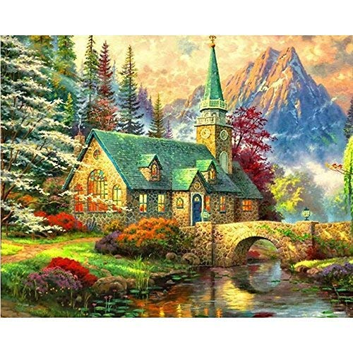 zhui star DIY Round Diamond Painting Kits for Adults Full Drill Cross Stitch Gift Village House Scenery Home Decoration 50x40CM