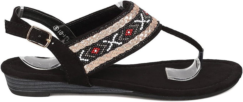 Women Mixed Media Beaded Tribal T-Strap Micro Wedge Sandal GI43