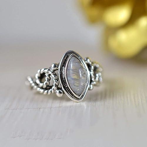 OOAK Knuckle 925 Silver Boho Rings Marquise Moonstone Large Band Big Gemstone Rainbow Moonstone Trendy Cute Wide Stamped Sterling