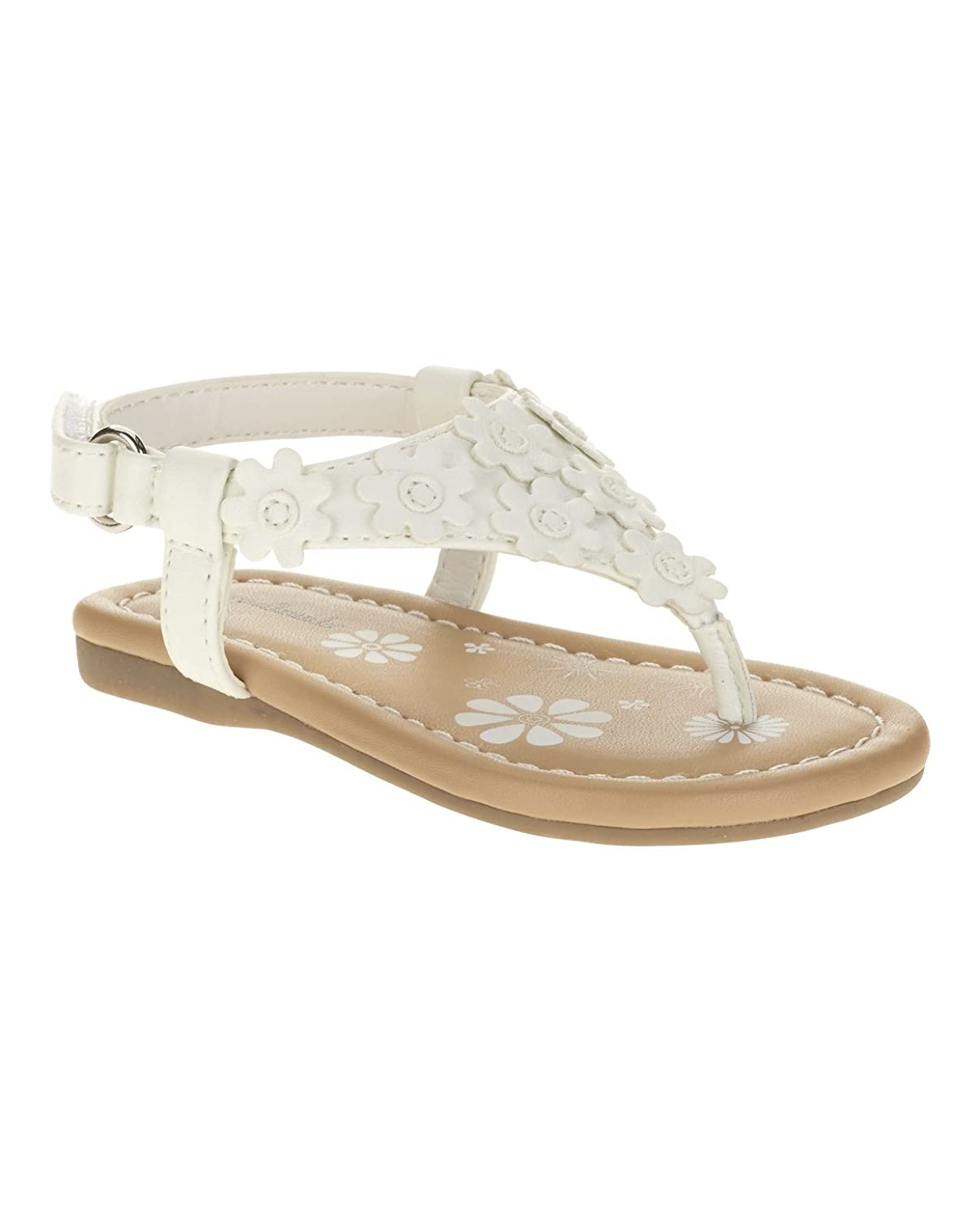 5a165f2e5ec16 Amazon.com | Garanimals Infant and Toddler White Flower Sandals ...