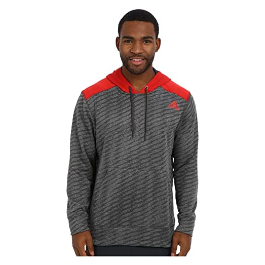 New Adidas Men's Ultimate Fleece Pullover Hoodie w/ Graphic DGH Solid Grey/ Scarlet Medium