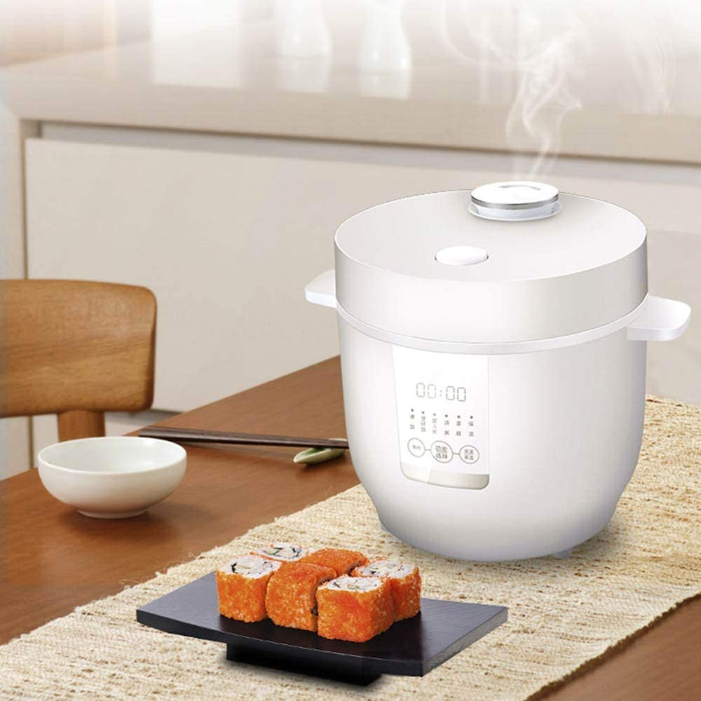 SUQIAOQIAO Mini Multi-Fonction Rice Cooker 2L Portable Intelligent en Acier Inoxydable Rice Cooker 1-2 Personnes 220 V,Noir