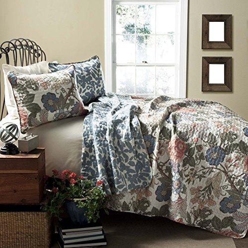 Lush Decor Sydney Quilt Floral Leaf Print 3 Piece Reversible Bedding Set, King, Green Blue ()