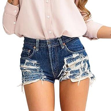 Banbian Damen Sommer Vintage Kurzschlüsse Hohe Taille Lochjeans Hot Pants  Mädchen Jeansshorts mit Taschen (XL 46c1878a13