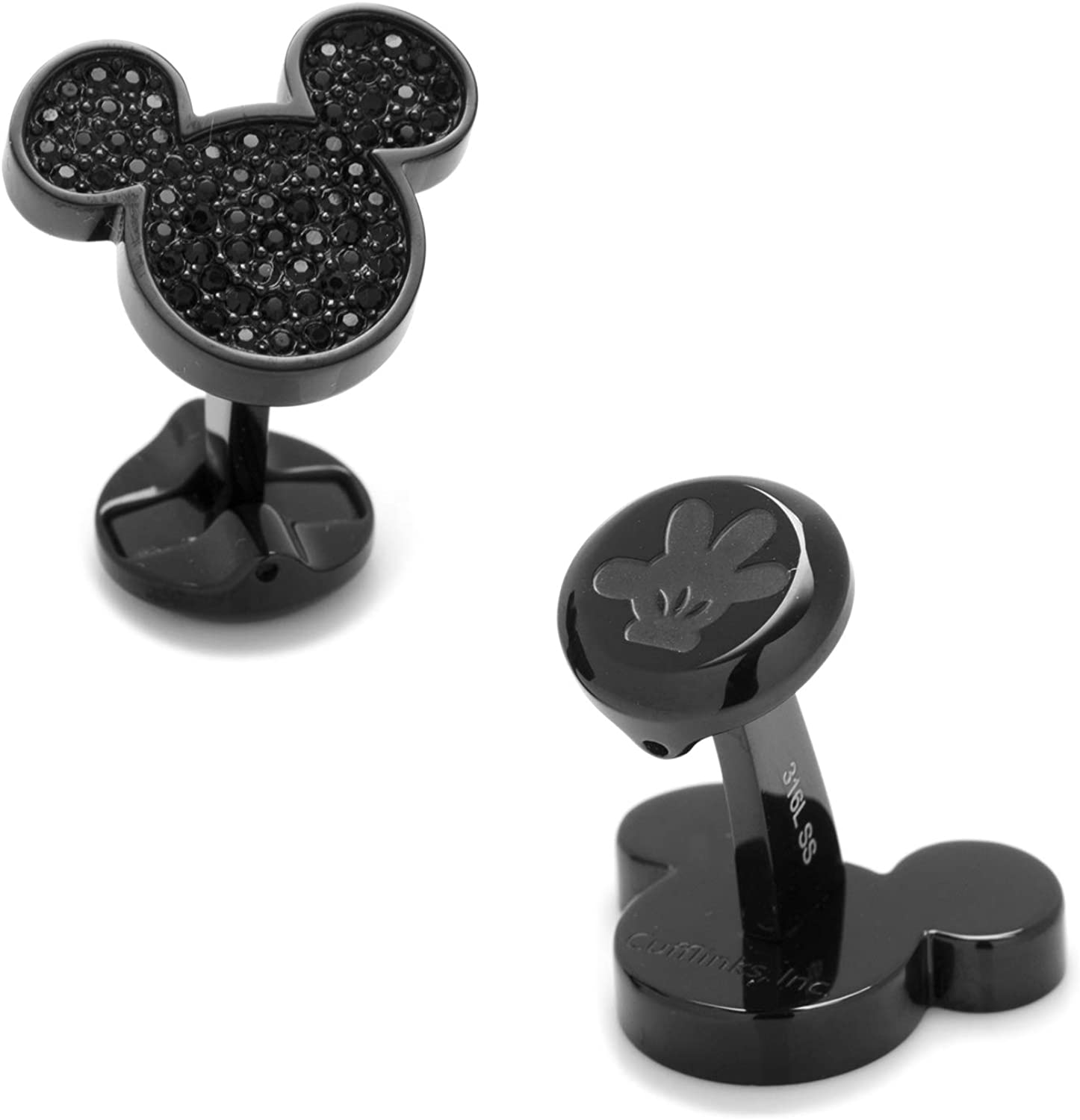 Stainless Steel Black Pave Crystal Mickey Mouse Cufflinks