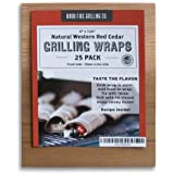 "Cedar Grilling Wraps - 25 Pack (6""x7.25"") - Great for Fish, Chicken, Seafood and More."