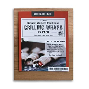 """Cedar Grilling Wraps - 25 Pack (6""""x7.25"""") - Great for Fish, Chicken, Seafood and More."""