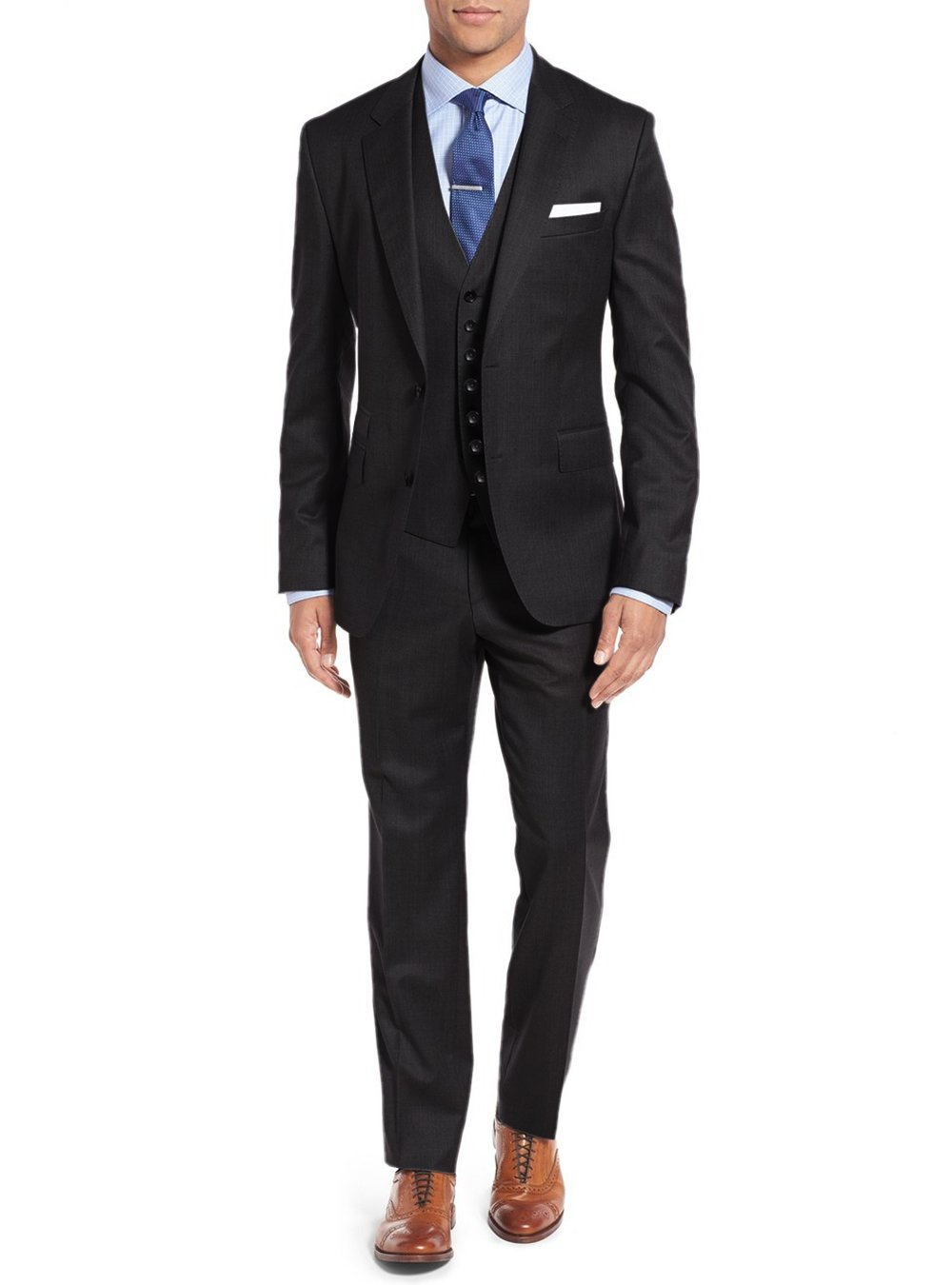 Salvatore Exte Men's 3-piece Suit Set Two Button Blazer Jacket Pants Tux Vest (40 Short US / 50S EU / W 34'', Black)