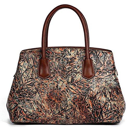 Leathario bolso de cuero de primera capa de la clase superior para damas, diseño elegante, estilo oriental rojo-marrón