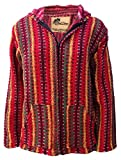 No Bad Days Baja Hoodie Zippered Mexican Poncho - Red Multi Color & Pattern (Medium)