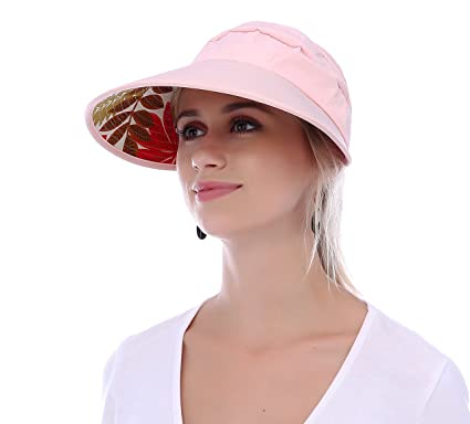 036163d3 Image Unavailable. Image not available for. Colour: JAKY Global Women Sun  Visor Hats Ponytail Cap Wide Brim Floppy UV Protection Summer Beach Glof