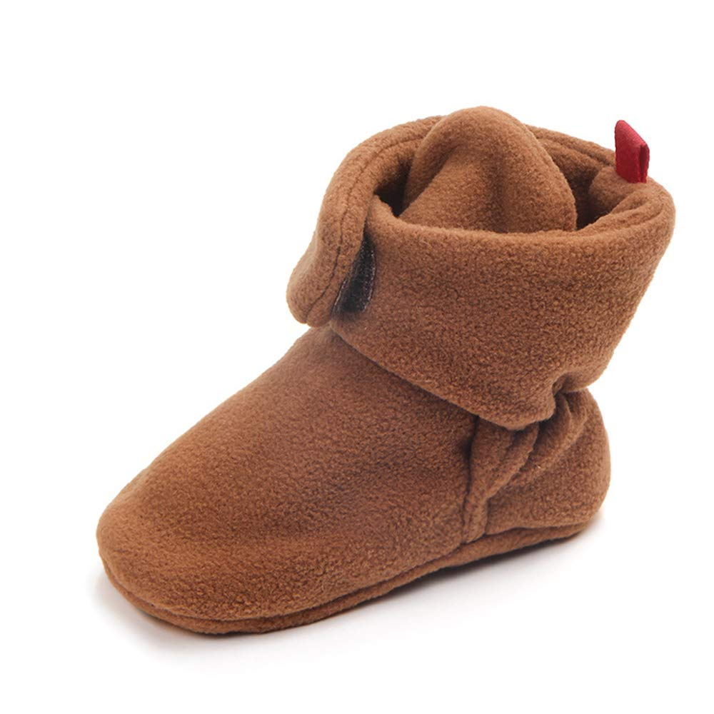 TraderPlus Baby Girls Boys Fleece Boots Winter Shoes with Non Skid Bottom