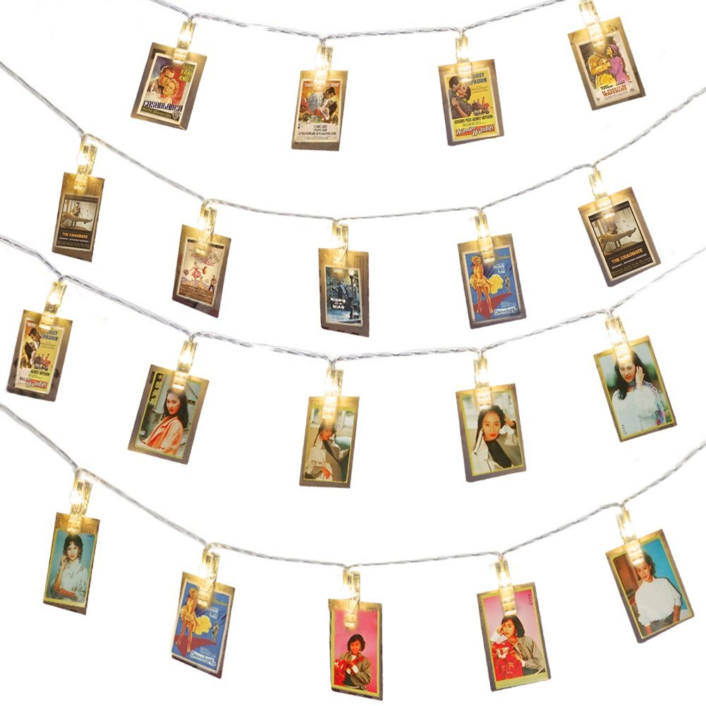 Bajotien 20 LED Photo Clips String Light Warm White Battery Powered for Party Wedding Christmas Thanksgiving Home Decoration, Hanging Photos, Cards, Artwork and Letters