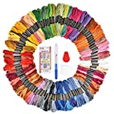 Premium Quality Rainbow Colored Embroidery Floss – 16 Needles Megapack Cross Stitch Threads for Arts and Crafts – Ideal for Friendship Bracelets, Gobelin, Tapestry – Multicolor Embroidery Floss