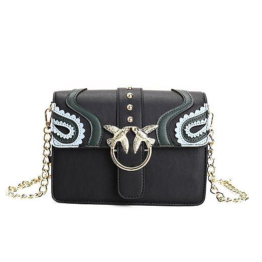 Women Metal Swallow Flap Bag PU Leather Rivet Messenger Bags Ladies Single Shoulder Bag Green bag
