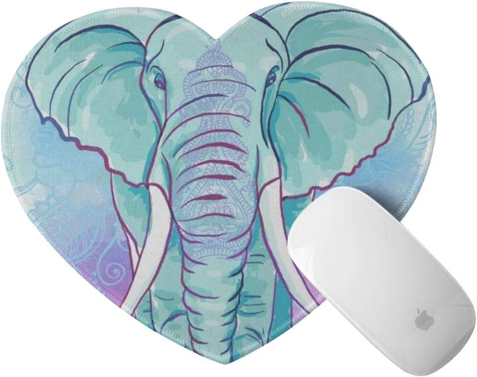 Cute Heart Shaped Mouse Pad Turquoise Elephant Small Mousepad Black Rubber Base Mouse Mat for Laptop Computer Womens Girls, Anti-Slip, 8