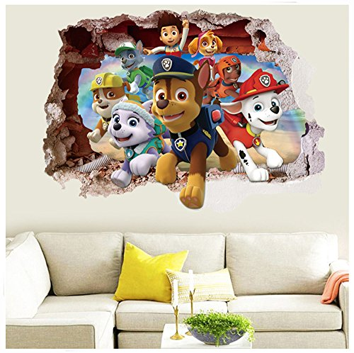 3D Kids Wall Sticker Decor Birthday Theme Party Supplies Wall Mural - Paw Patrol - Dogs (Paw Patrol Birthday Party Theme)