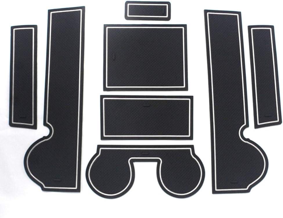 ALLYARD For Lancer-ex 2010-2015 Door Slot Pad Anti-slip Anti-dust Interior Cup Mats Door Gate Slot Storage Mats 8Pcs//Set Black