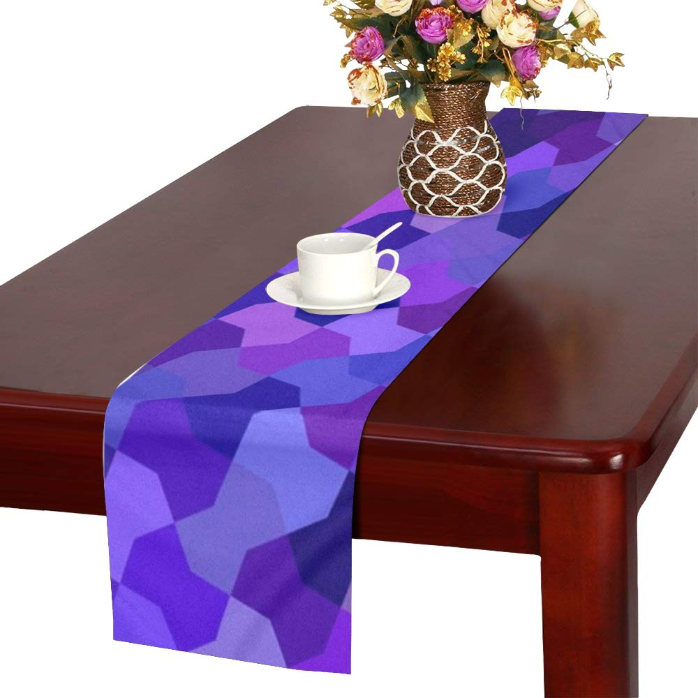 Geometric Floor Color Art Abstract Table Runner, Kitchen Dining Table Runner 16 X 72 Inch For Dinner Parties, Events, Decor