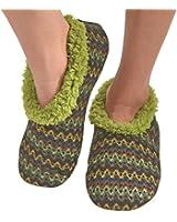 Snoozies Womens Wiggle Stripe Comfy Soft Fleece Slipper Socks