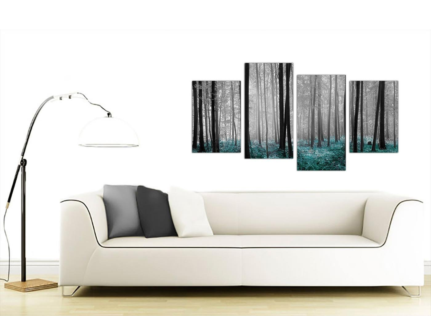 Amazon.com: Canvas Prints of Teal Forest Woodland Trees in Black and ...