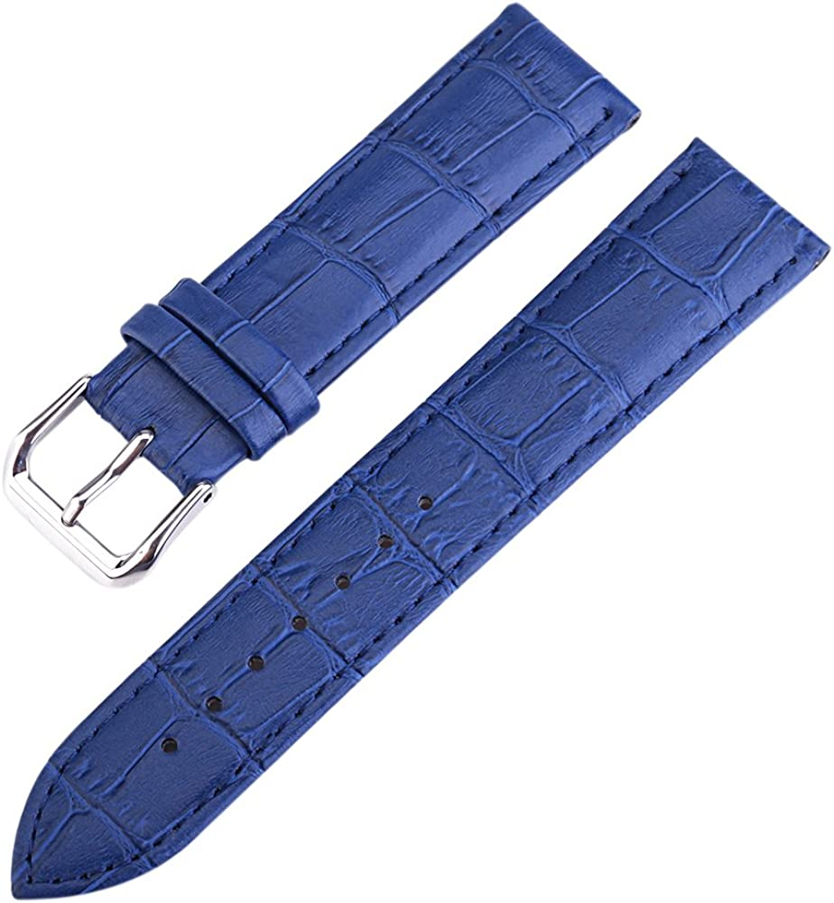 16mm Blue Luxurious Elegant Women's Genuine Calfskin Leather Watch Bands Straps Rectangular Scales
