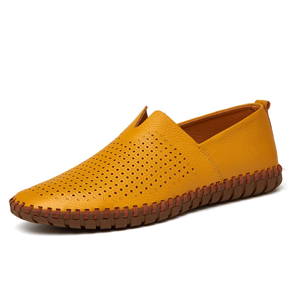 Color : Hollow Yellow, Size : 10.5 M US CHENDX Shoes Mens Fashion Light Soft Leather Drive Loafers Casual Hollow Breathable A Foot Pedal Boat Moccasins