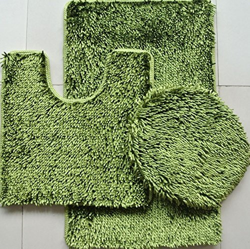 3-Piece JELLY CHENILLE Bathroom Mat Set, Bath Mat, Contour and Cover (Sage Green) Sage Jelly