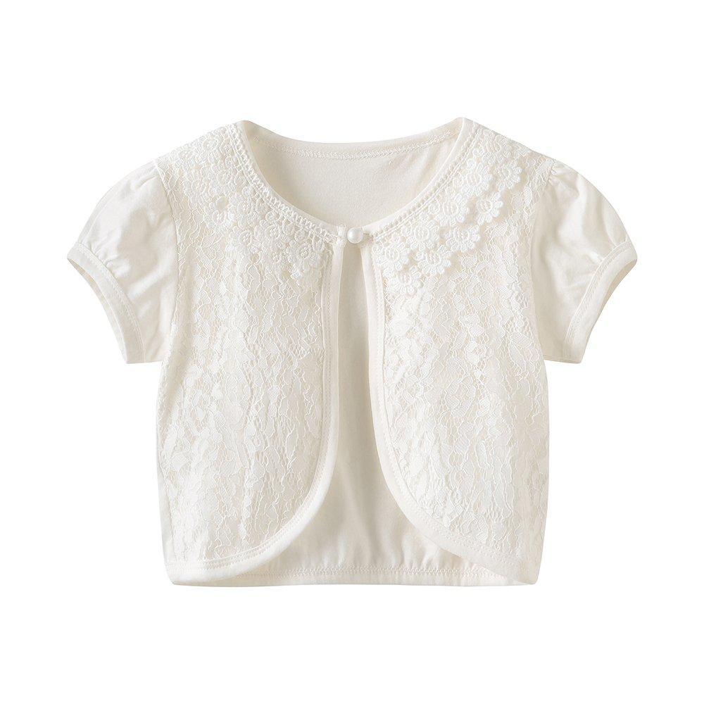 CHENXIN Girls Shrug Knit Short Sleeve Lace Bolero Cardigan Shrug (Ivory 2, 130/5-6T)