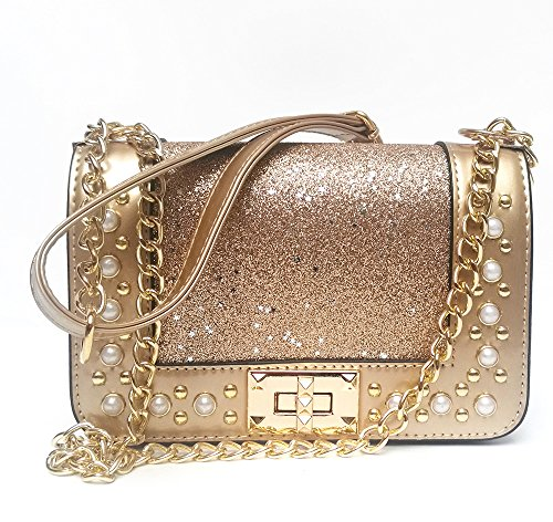Gold Shoulder Bag - Women's Sequins Crossbody bag Messenger Bags Shining Handbag Chain Shoulder Bags Purse (gold)