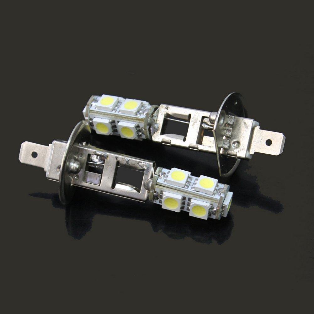 2 Pcs DC 12V H1 5050 SMD 9 LED Car Vehicle Headlight Fog Light Bulb Lamp White