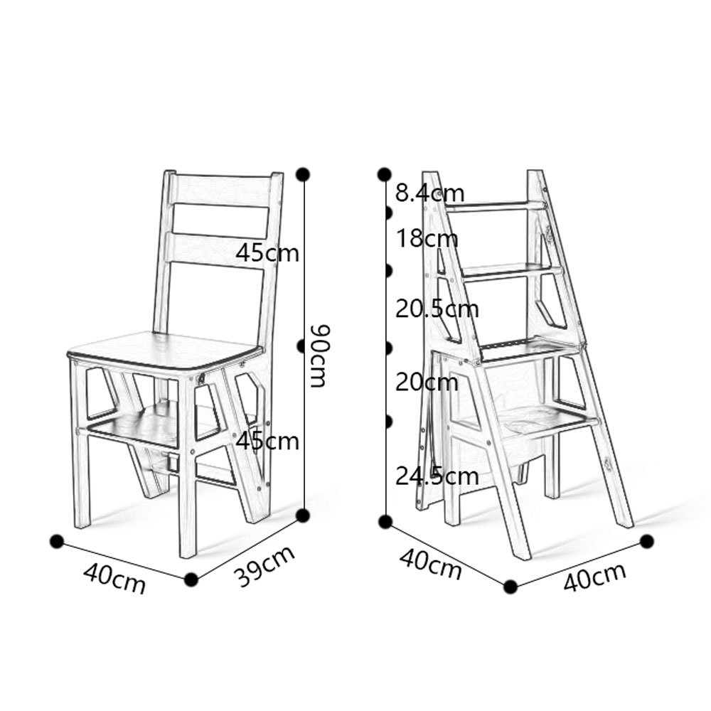 YY Muebles Escalera Plegable Multifuncional de Madera para ...
