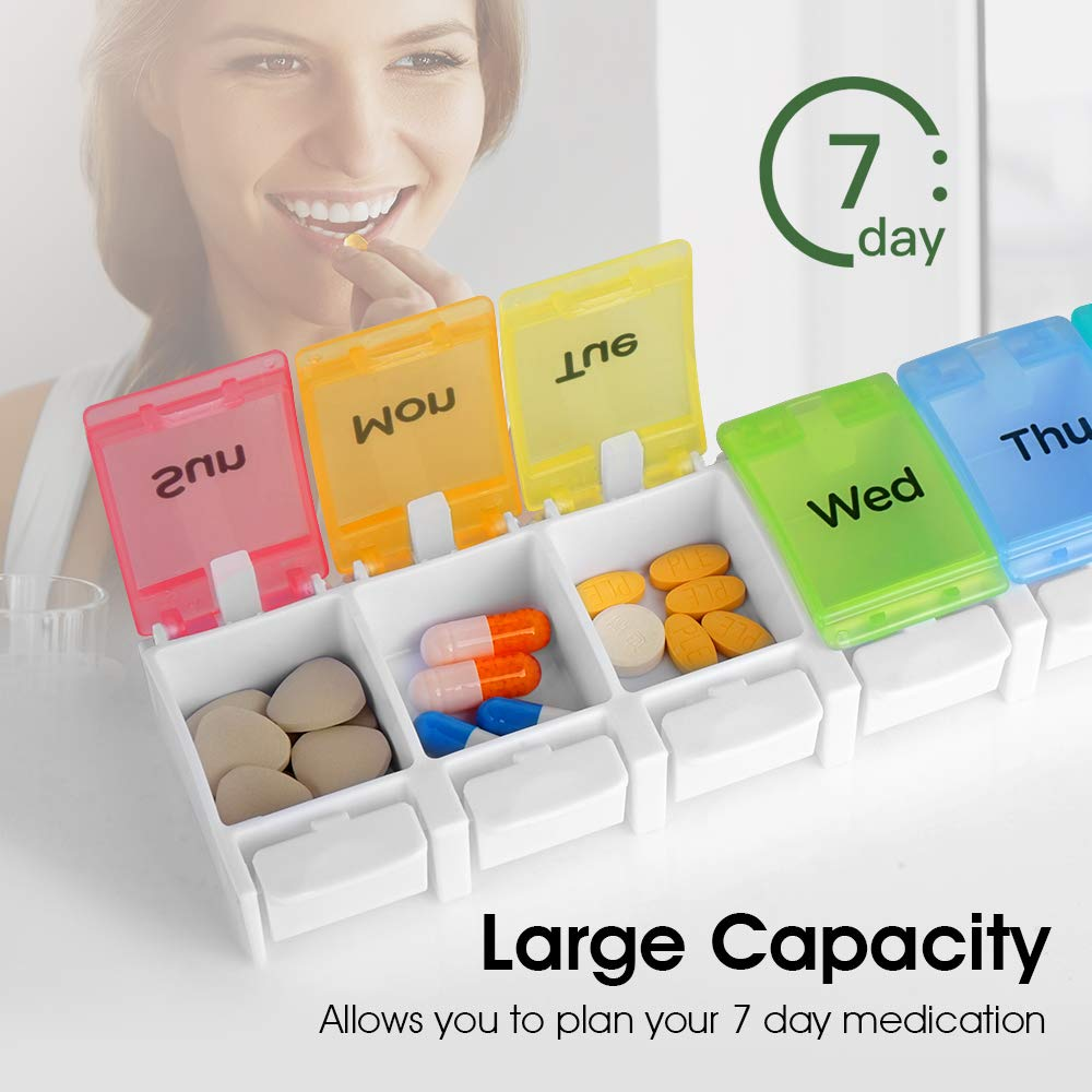 NURSAL Pill Organizer BPA Free Portable 7 Days Pill Container with Easy Push Button Design and Large