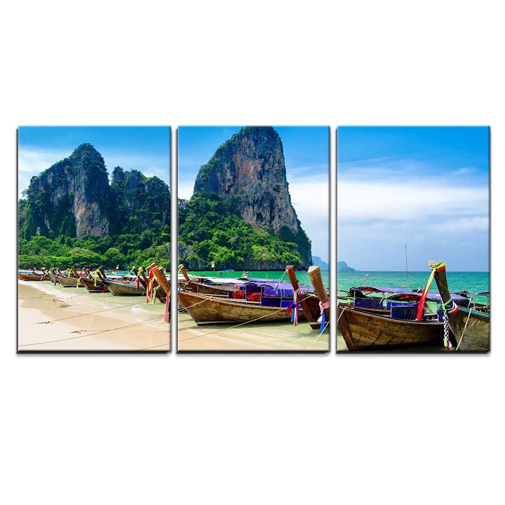 wall26 - 3 Piece Canvas Wall Art - Traditional Thai Boats at the Beach of Krabi Province. - Modern Home Decor Stretched and Framed Ready to Hang - 16''x24''x3 Panels