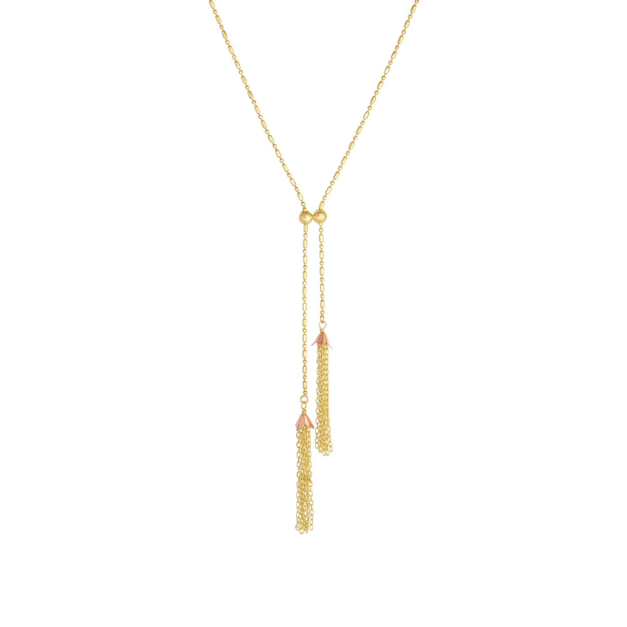 14kt 18'' Yellow+Rose Gold 69-1mm Diamond Cut 1+1 B th Rose Cap & Tassel with Lobster Clasp