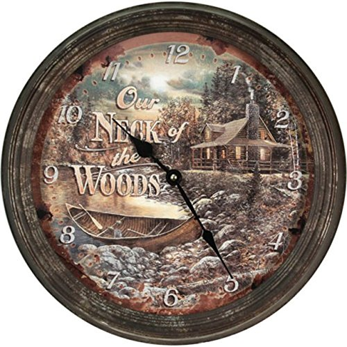 Rivers Edge Products Cabin Scene Rusty Metal Clock, ()