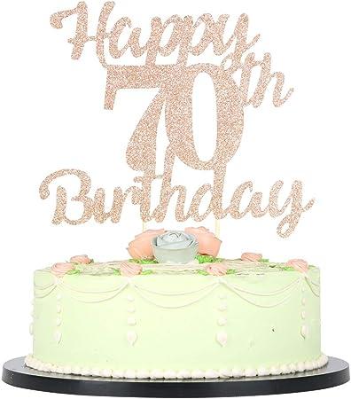 70th birthday decorations 70 cake topper glitter cake topper birthday party decor Hello 70 cake topper 70th birthday cake topper for her