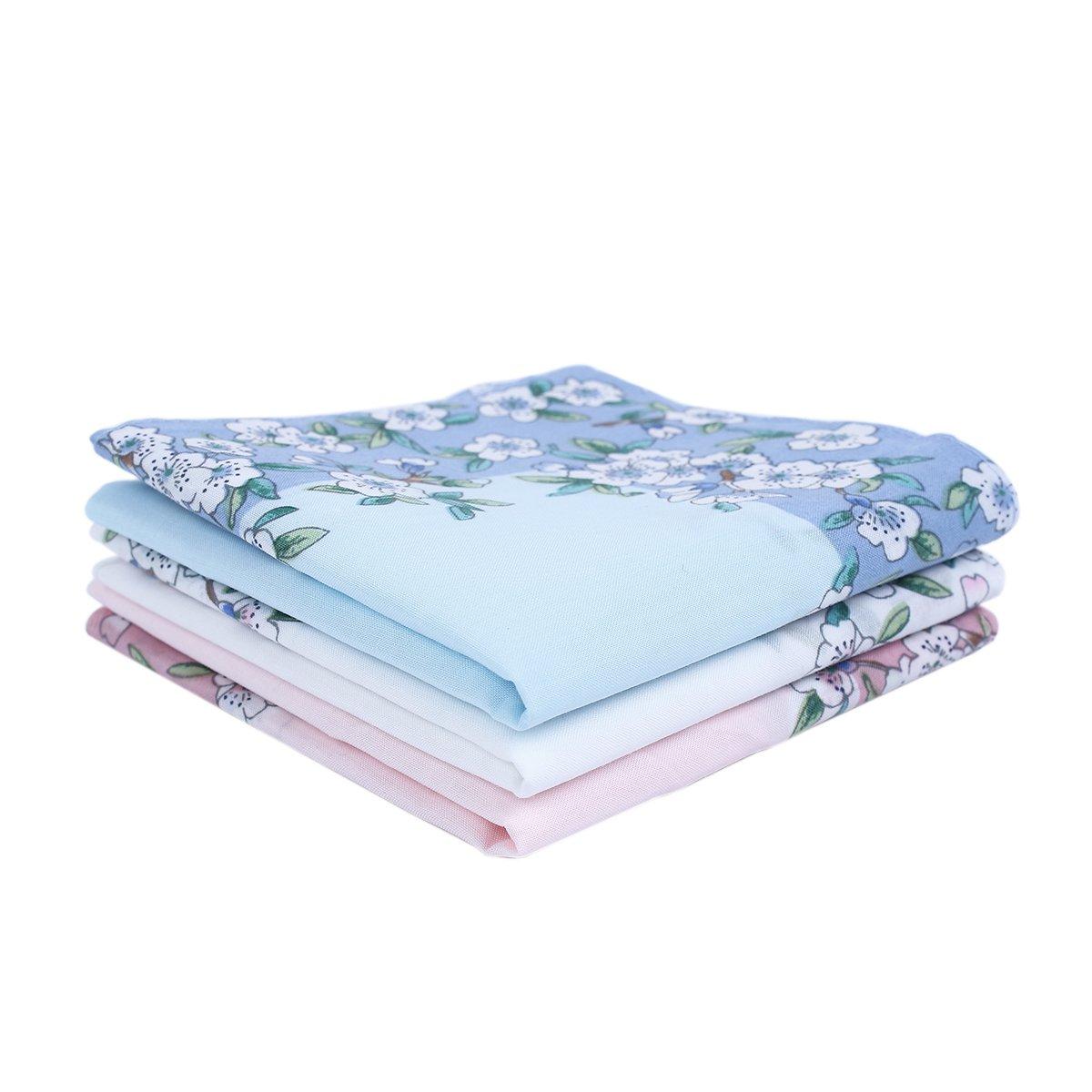 Houlife Women's 100% Cotton Cherry Blossom Floral Print Handkerchief 3 Pieces