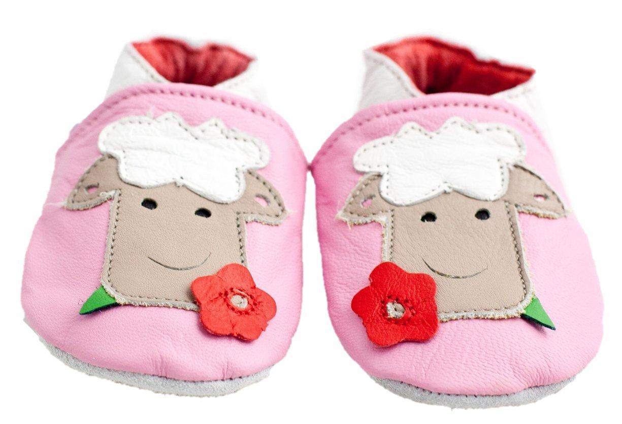 Shoozies Cuir Souple Chaussures bébé Mouton - Rose - Rose, We Love little People