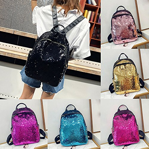 Travel Bag Satchel Sport Cute Fashion Bag Girl College Style School PU Clearance DEELIN Leather Shoulder Bookbag Student for Girls Backpack Preppy Black Sequins School aw6x08q