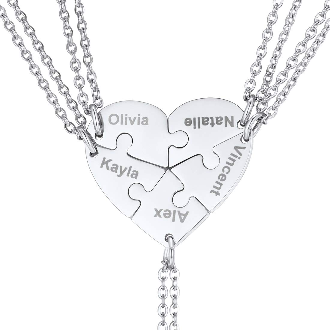 U7 BFF Necklace for 2/3/4/5/6 Stainless Steel Chain Personalized Family Love/Friendship Jewelry Set Free Engraving Heart Pendants (Set of 5 Stainless Customized)