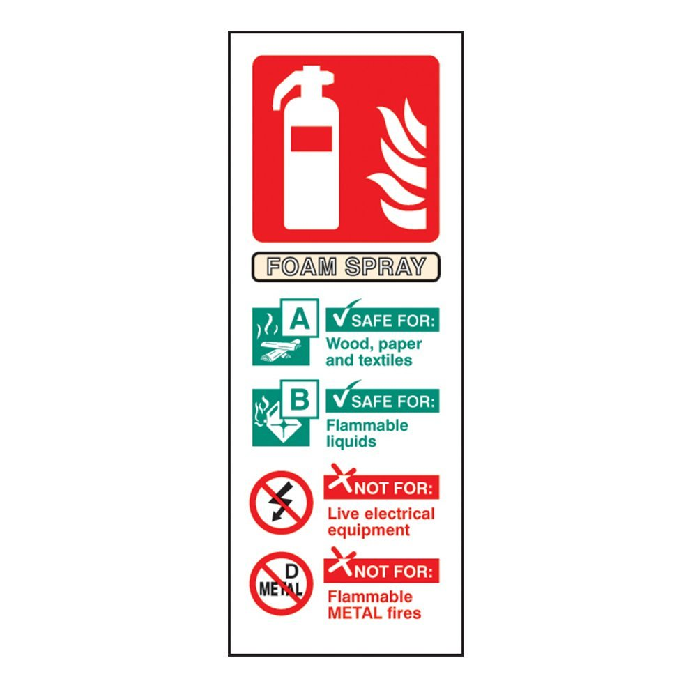 AFFF Foam Fire Extinguisher ID Sign - Self Adhesive Vinyl - 100mm x 150mm - FireShield