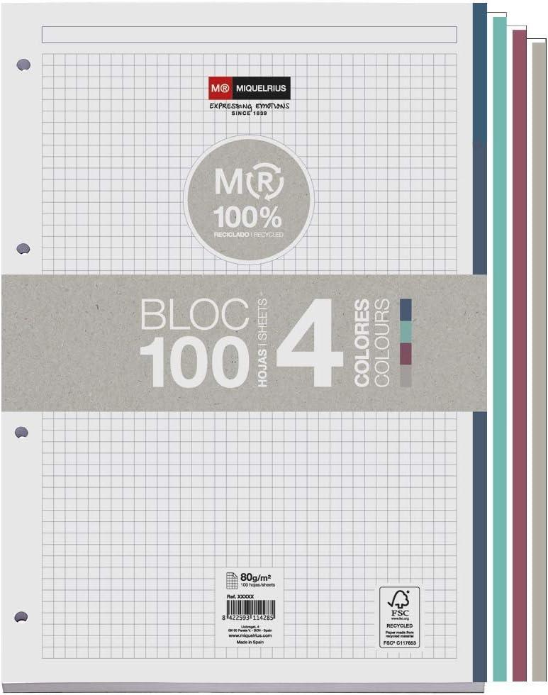 Miquelrius - Bloc recambio 100% reciclado, hojas cuadriculadas de 5 x 5 mm, DIN A4, 100 hojas de 80 g/m² con 4 franjas de colores
