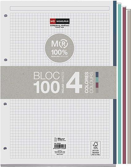 MIQUELRIUS - Bloc Recambio 100% Reciclado Hojas encoladas - 4 franjas de colores, 100 Hojas cuadriculadas de 5mm, Tamaño A4, Papel 80 g, Con 4 Taladros: Amazon.es: Oficina y papelería