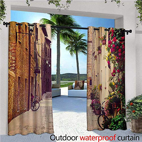 Hanging Estrella Outdoor (homehot Cityscape Fashions Drape Street in Pienza Tuscany Italy with Hanging Basket Plants Flowers Bicycles Picture Outdoor Curtain Waterproof Rustproof Grommet Drape W84 x L84 Red Green)