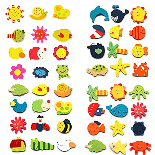 Catnew 12pcs Colorful Kids Baby Wood Cartoon Fridge Magnet Child Kids Educational Toy