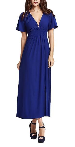 Vestidos Verano Mujer Tallas Grandes Gala Party Color Sólido Elegante Largos Faldas Classic Alto Cintura V